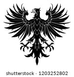 black vector heraldic eagle on... | Shutterstock .eps vector #1203252802