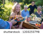 in the summer  a family of... | Shutterstock . vector #1203253798