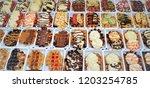 belgian waffles. a tempting...   Shutterstock . vector #1203254785