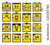 Yellow funny vector emoticons. - stock vector
