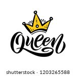 queen word with crown.... | Shutterstock .eps vector #1203265588