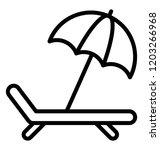 a deck chair with umbrella ... | Shutterstock .eps vector #1203266968