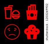 4 unhealthy icons with french... | Shutterstock .eps vector #1203269902