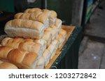 closeup of long loafs selling...   Shutterstock . vector #1203272842
