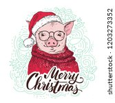 pig in a red cardigan  in a... | Shutterstock .eps vector #1203273352