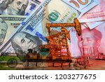 the oil pump  the dollar and... | Shutterstock . vector #1203277675