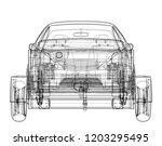 sedan with open trailer sketch. ... | Shutterstock .eps vector #1203295495