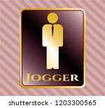 gold badge or emblem with... | Shutterstock .eps vector #1203300565