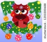 lovely cartoon owl on a spruce... | Shutterstock .eps vector #1203300688