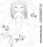 beautiful mermaid. underwater... | Shutterstock .eps vector #1203300712