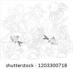 underwater world. anti stress... | Shutterstock .eps vector #1203300718