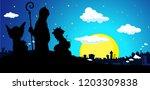 saint nicholas  devil and angel ... | Shutterstock .eps vector #1203309838