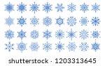 set of 32 decorative blue... | Shutterstock .eps vector #1203313645