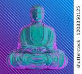 vaporwave buddha meditating... | Shutterstock .eps vector #1203350125