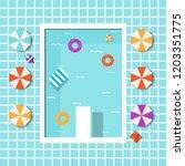 topview summer pool swimming... | Shutterstock .eps vector #1203351775