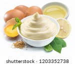 mayonnaise sauce in white bowl... | Shutterstock . vector #1203352738