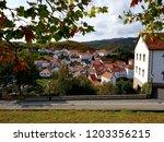 Stock photo panoramic views of the village jaurrieta irati forest 1203356215