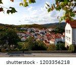 Stock photo panoramic views of the village jaurrieta irati forest 1203356218