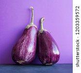 2 ripe purple eggplants on... | Shutterstock . vector #1203359572