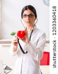 young doctor in heart care...   Shutterstock . vector #1203360418