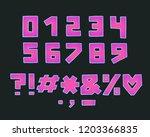 alphabet square design  neon... | Shutterstock .eps vector #1203366835
