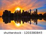 Manhattan Downtown Skyline In...