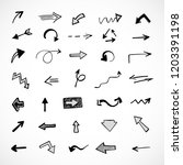 hand drawn arrows  vector set | Shutterstock .eps vector #1203391198
