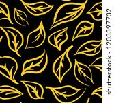 seamless foliage pattern. gold...   Shutterstock .eps vector #1203397732