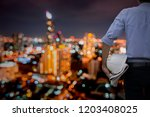 engineer or architect standing...   Shutterstock . vector #1203408025
