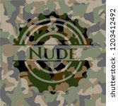 nude on camouflage texture | Shutterstock .eps vector #1203412492