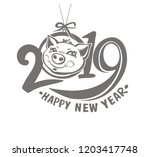 year of the pig 2019. christmas ... | Shutterstock .eps vector #1203417748
