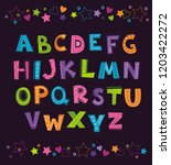 cute funny childish alphabet on ... | Shutterstock .eps vector #1203422272