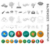 different weather flat icons in ... | Shutterstock .eps vector #1203436798