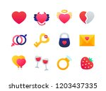 love and romance   set of flat... | Shutterstock .eps vector #1203437335