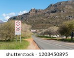 warning signs at the start of... | Shutterstock . vector #1203450895