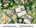 flat lay christmas  background...   Shutterstock . vector #1203454012