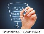 hand sketching sales or revenue ... | Shutterstock . vector #1203469615