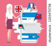 work of translator app ... | Shutterstock .eps vector #1203470758