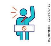 protester speech color icon.... | Shutterstock .eps vector #1203471412