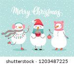 christmas greeting card with... | Shutterstock .eps vector #1203487225