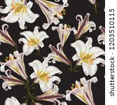 beautiful white lilies flowers... | Shutterstock .eps vector #1203510115