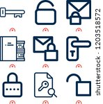 simple set of  9 outline icons... | Shutterstock .eps vector #1203518572