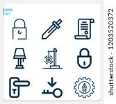 simple set of  9 outline icons... | Shutterstock .eps vector #1203520372