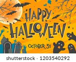halloween poster with lettering ... | Shutterstock .eps vector #1203540292