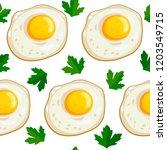 seamless pattern fried egg | Shutterstock .eps vector #1203549715