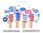 hands holding smartphones with... | Shutterstock .eps vector #1203565915
