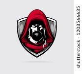 assasin in red hood logotype... | Shutterstock .eps vector #1203566635