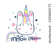 hand drawing unicorn head... | Shutterstock .eps vector #1203603172