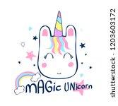 hand drawing unicorn head... | Shutterstock .eps vector #1203603172