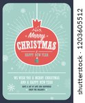 merry christmas card on a... | Shutterstock .eps vector #1203605512